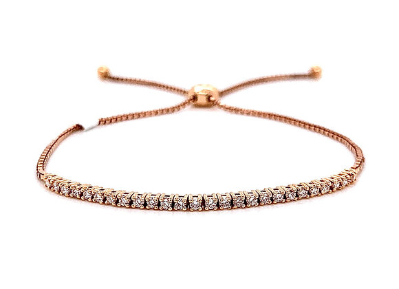 14kt Rose Gold Ladies 0.42ctw Round Diamond Bolo Bracelet