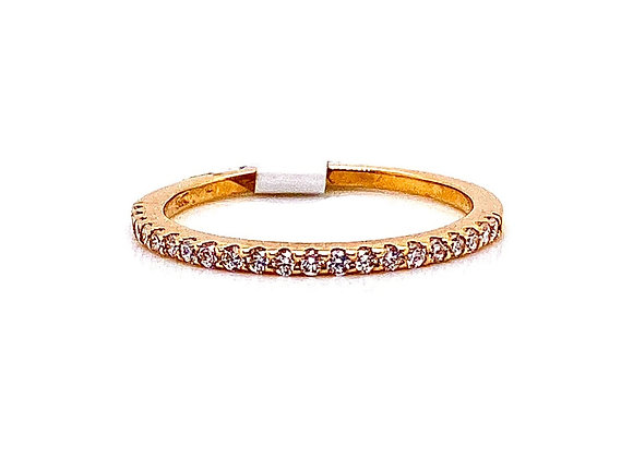 14kt Yellow Gold Ladies Round Diamond Straight Band