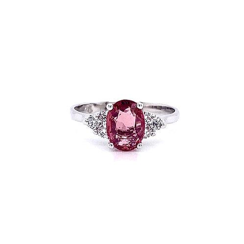 14kt White Gold Pink Tourmaline Gemstone and Diamond Side Stone Ring