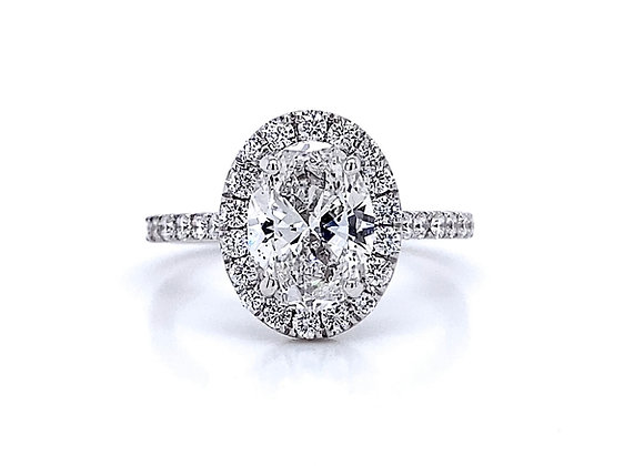 14kt White Gold 1.60ct Oval Diamond Halo Ring