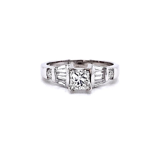 14kt White Gold 1.12ctw Princess Cut Diamond Side Stone Ring