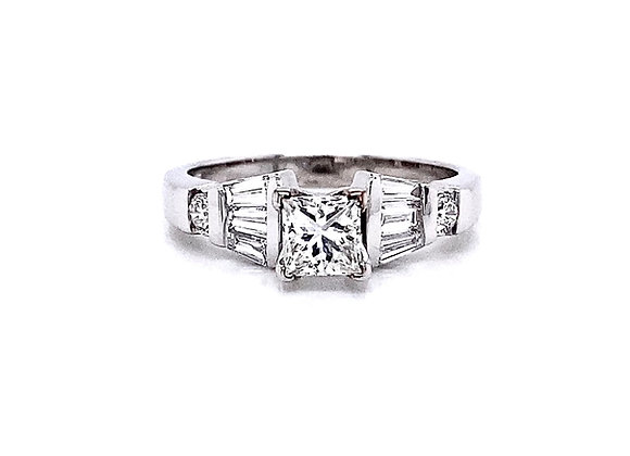 14kt White Gold 1.12ctw Princess Cut Diamond Side Stone Ring