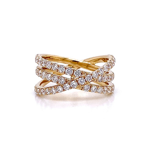 14kt Yellow Gold Ladies Diamond Crossover Band