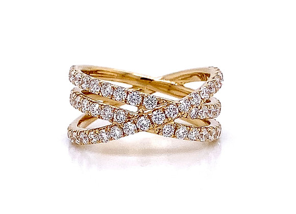 14kt Yellow Gold Ladies Diamond Crossover Band