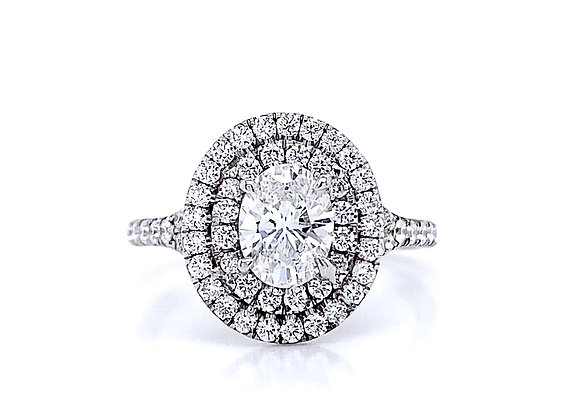 14kt White Gold 0.82ct Oval Diamond Double Halo Ring