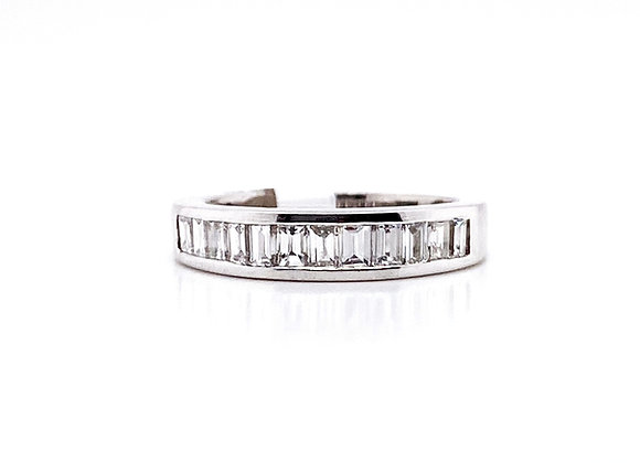 14kt White Gold Baguettes Diamond Channel Ladies Band