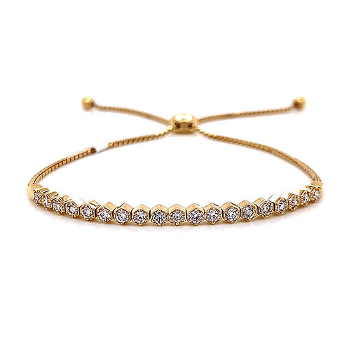 14kt Yellow Gold Ladies 0.63ctw Round Diamond Bolo Bracelet