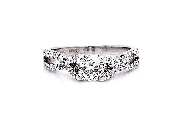 14kt White Gold 0.87ctw Round Diamond Side Stone Ring