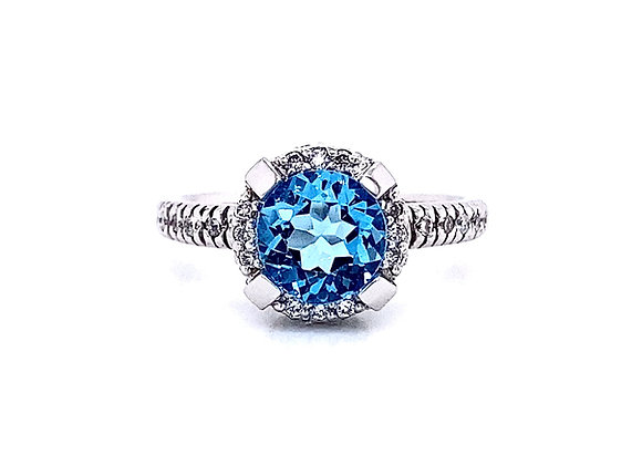 14kt White Gold Blue Topaz Gemstone and Diamond Halo Ring