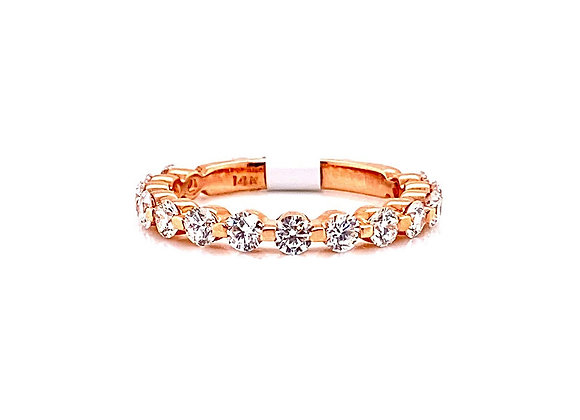 14kt Rose Gold Ladies Round Diamond Minimalist Band