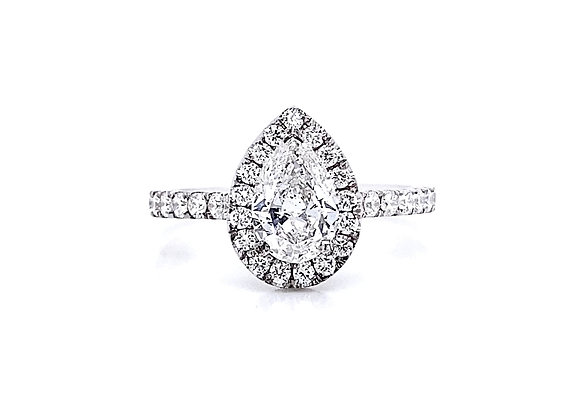 14kt White Gold Ladies 1.14ctw Pear Shape Diamond Halo Ring