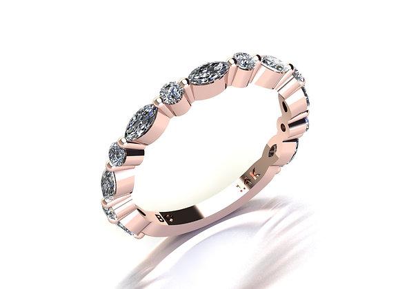 Bezel-Less Marquise and Round Diamond Sharing Prong Band