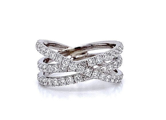 14kt White Gold Ladies Diamond Crossover Band