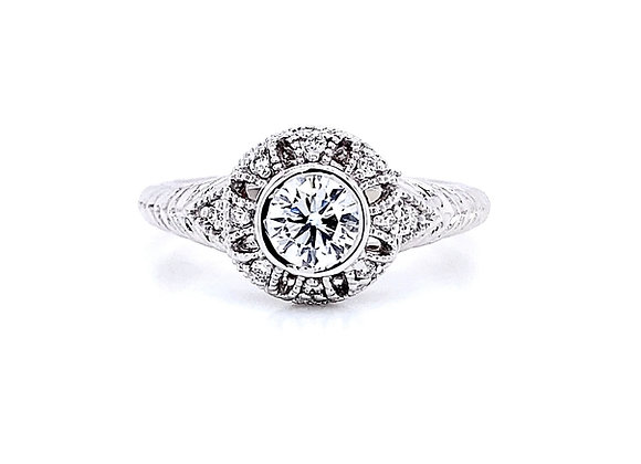 14kt White Gold Ladies Round Diamond Vintage Style Ring