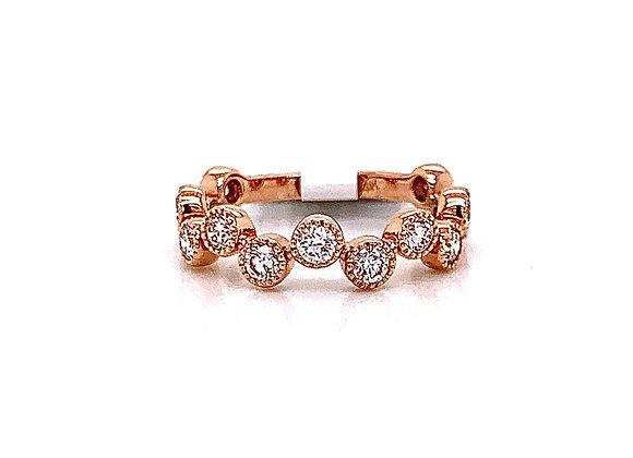 14kt Rose Gold Ladies Vintage Style Diamond Band