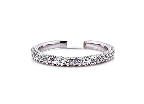 14kt White Gold Ladies 3D Round Diamond Pave Band