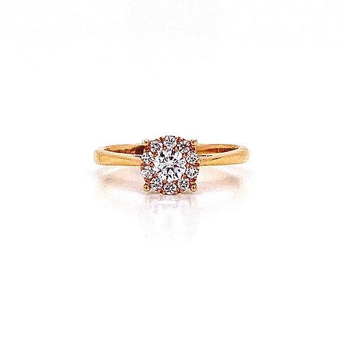 14kt Rose Gold Ladies 0.30ctw Round Diamond Hybrid Halo Ring