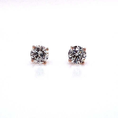 14kt Rose Gold Ladies 1.05ctw Round Diamond Stud Earrings