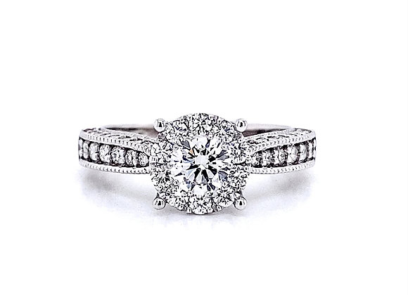 14kt White Gold 1.01ctw Round Diamond Vintage Style Halo Ring