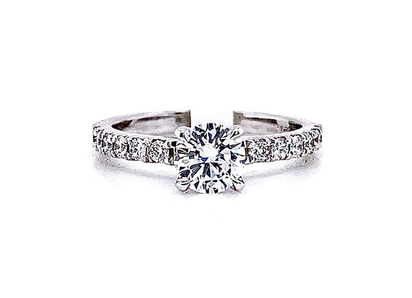 14kt White Gold 0.70ct Round Diamond Side Stone Ring