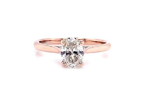 14kt Rose Gold 0.78ct Oval Cut Diamond Solitaire Ring