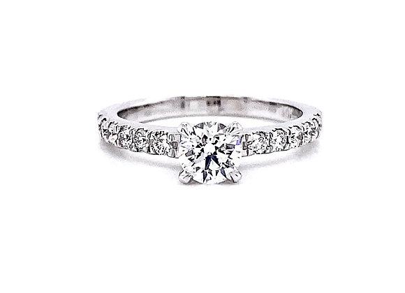 14kt White Gold 0.95ctw Round Diamond Side Stone Ring