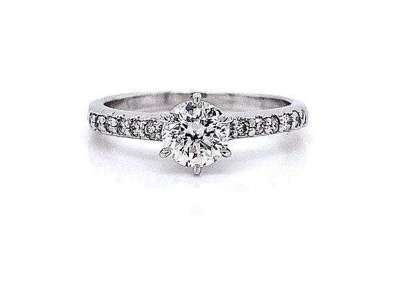 14kt White Gold 0.89ctw Round Diamond Side Stone Ring