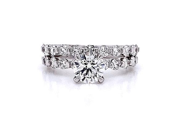 14kt White Gold 1.71ctw Round Diamond Side Stone Wedding Set