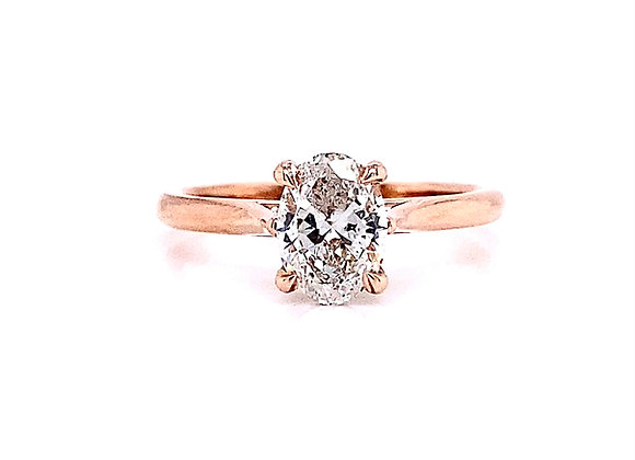 14kt Rose Gold Ladies 1.00ct Oval Cut Diamond Solitaire Ring