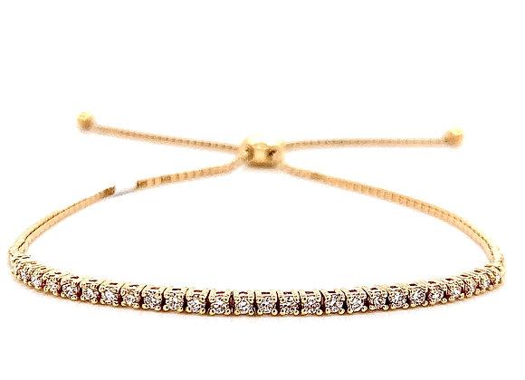 14kt Yellow Gold Ladies 0.42ctw Round Diamond Bolo Bracelet