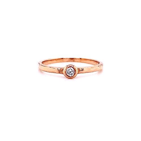 14kt Rose Gold Single Round Diamond Band