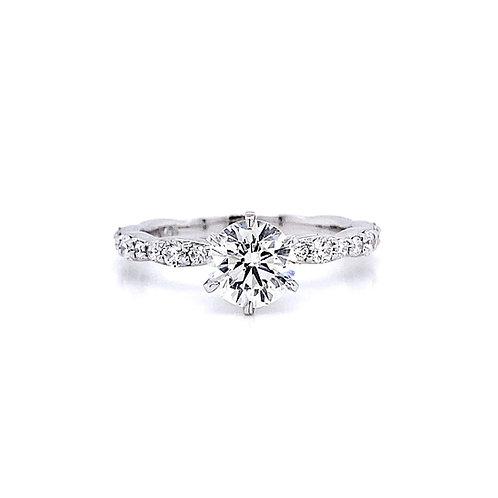 14kt White Gold 1.14ctw Round Diamond Side Stone Ring