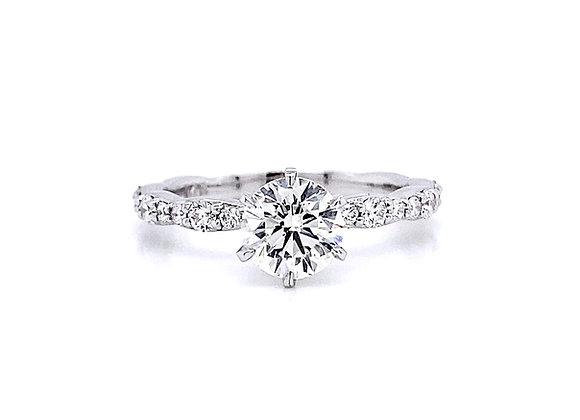 14kt White Gold 1.14ctw Round Diamond Side Stone Ring