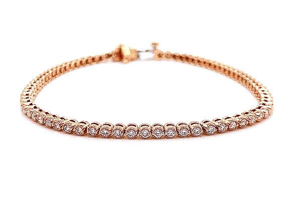 14kt Rose Gold Ladies 1.17ctw Vintage Round Diamond Tennis Bracelet