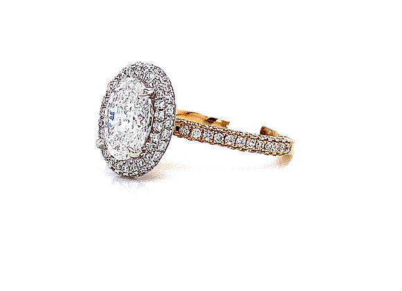 14kt Two-Tone Ladies 1.20ct Oval Diamond 3D Style Halo Ring
