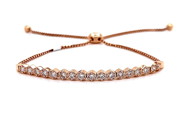 14kt Rose Gold Ladies 0.71ctw Vintage Round Diamond Bolo Bracelet