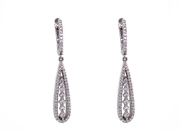14kt White Gold Ladies Vintage Style Drop Earrings