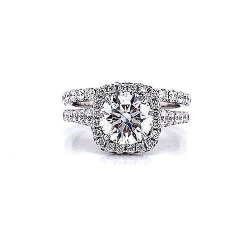 14kt White Gold Ladies 2.57ctw Round Diamond Wedding Set