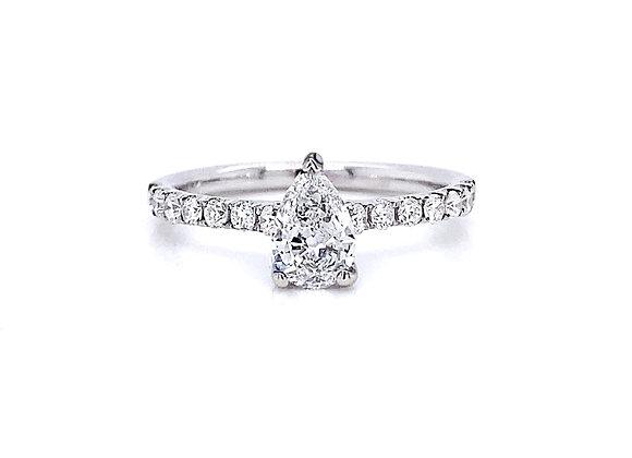 14kt White Gold Ladies 0.92ctw Pear Shape Diamond Side Stone Ring