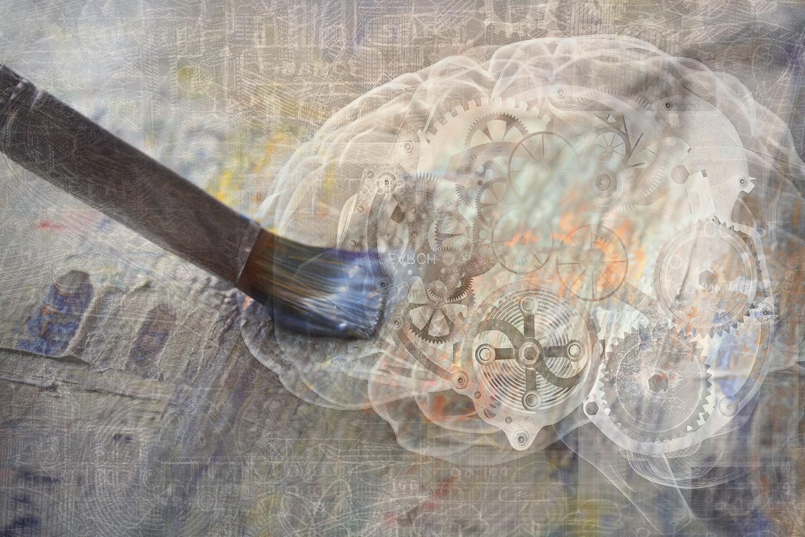 Collage digital de pincel y cerebro