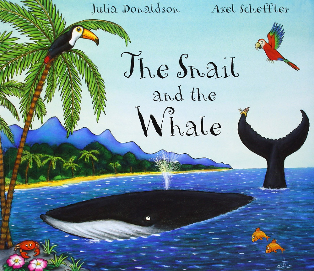 "PreSchool-Grade 3--A tiny mollusk that longs to see the world hitches a ride aboard a humpback whale in this charming picture book. After seeing far-off islands, underwater caves, and storm-filled skies, the snail feels impossibly small--until the whale is beached in a harbor, and she saves the day by writing a note on the blackboard of a nearby school to summon help. The message that even the smallest among us can help others will not be lost on children, and neither will the poetic language: ""A humpback whale, immensely long,/Who sang to the snail a wonderful song/Of shimmering ice and coral caves/And shooting stars and enormous waves."" Donaldson's smooth, sprightly rhyming scheme buoys the story and never falters. The flat, cartoonish look of Scheffler's multimedia illustrations perfectly complements the tone of the text. The rollicking language and bright pictures make this a great choice for reading aloud.--Kathleen Kelly MacMillan, Maryland School for the Deaf, Columbia"