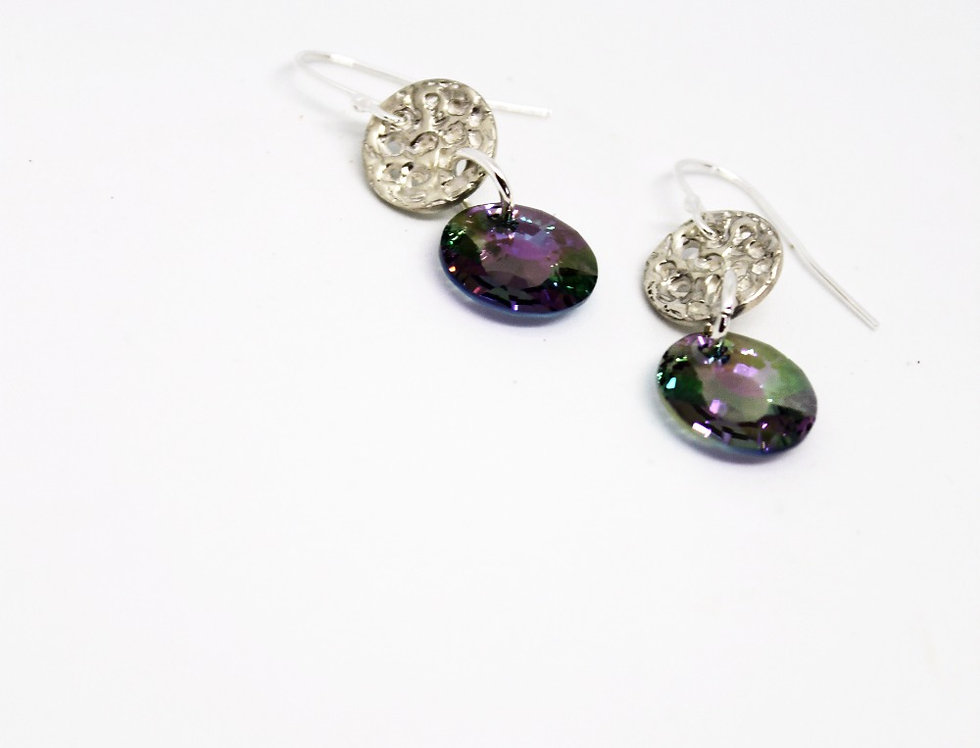 Moonlit Purple Green Earrings