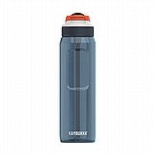 בקבוק שתייה 750 מ״ל כחול-אפור עם קש