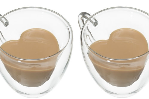 זוג כוסות דופן כפולה בצורת לב