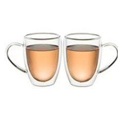 זוג כוסות דופן כפולה עם ידית 350 מ״ל