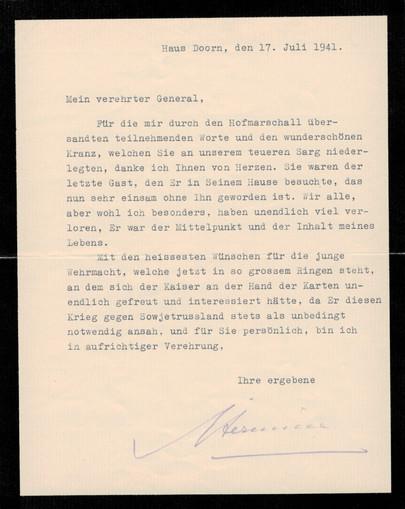 Die Witwe Hermine dankt in einem Brief Josef Lehmann für die Beileidsbezeigungen am Tod ihres Mannes.