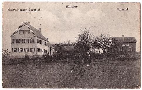 Ansichtskarte mit Hamlarer Bahnhof und Gastwirtschaft Steppich, um 1918