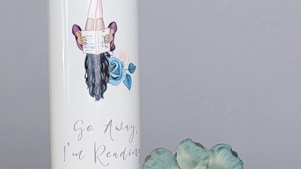 Go Away I'm Reading (Black Hair) 20 oz Skinny Tumbler