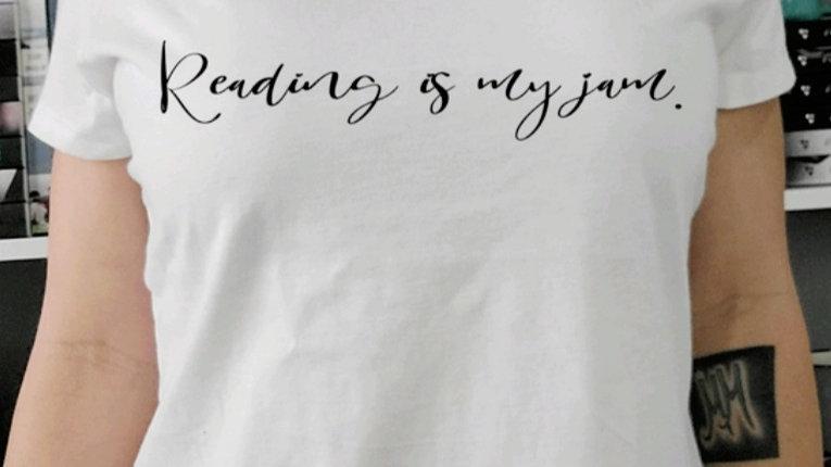 Reading is My Jam White V-Neck