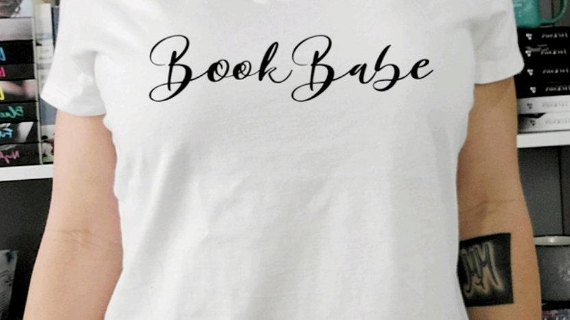 Book Babe White V-Neck